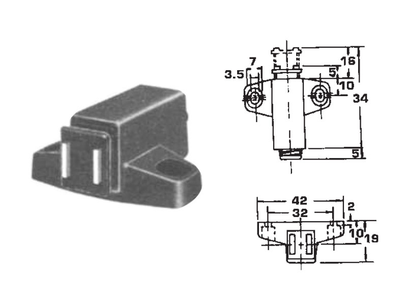 Single Magnetic Touch Latch with 32mm Hole Centers